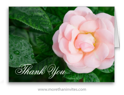 Pink rose photo wedding thank you greeting card