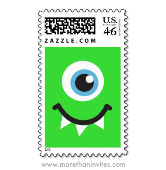 Fun postage stamp great for monster themed birthday parties