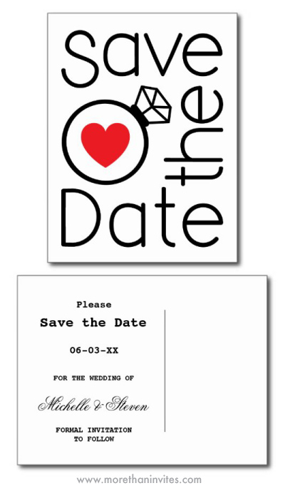 Modern save the date postcard with red heart and wedding ring