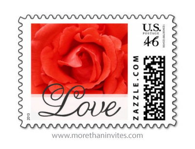 Beautiful red rose postage stamp for Valentines day or weddings