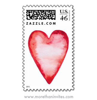 Love themed usps postage stamp with red watercolor heart
