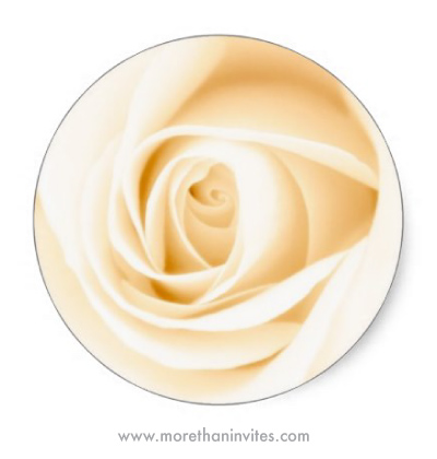 Wedding envelope seal stickers featuring a beautiful, cream coloured rose