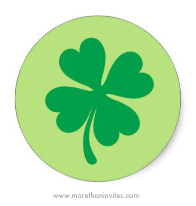 Green four leaf clover stickers for St Patrick's day