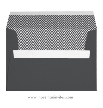 Stylish and elegant dark gray chevron pattern A7 envelope