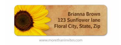 Yellow sunflower on vintage old paper personalised return address labels