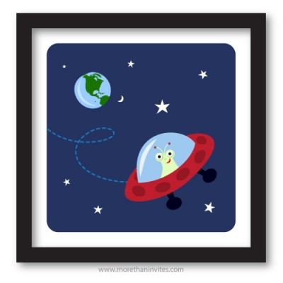 Alien in red spaceship cute space cartoon room decor for children