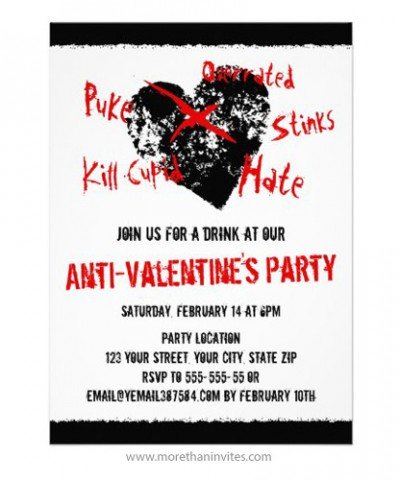 Anti Valentines day singles party invitation with black, distressed heart