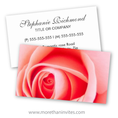 Beautiful pink rose garden florist wedding planner business card
