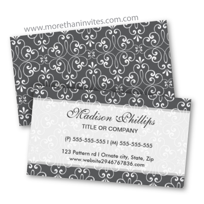 Chic and fashionable stylish ornate damask personal profile card or business card template