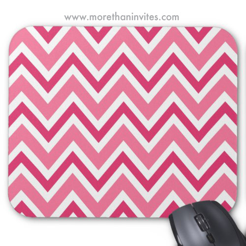 Chic Pink Chevron Zigzag Pattern Mousepad More Than Invites