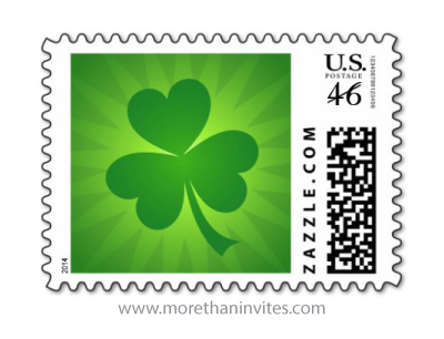 Clover shamrock on green sunburst st patricks day postage stamp