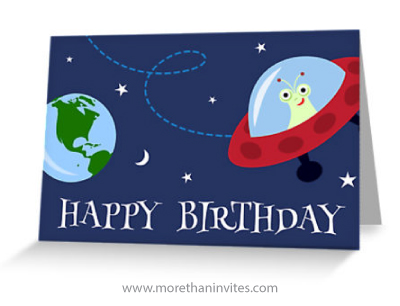 Cute alien in spaceship happy birthday card for children
