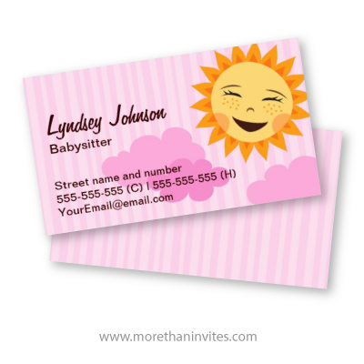 Cute pink babysitting business card with cartoon sun