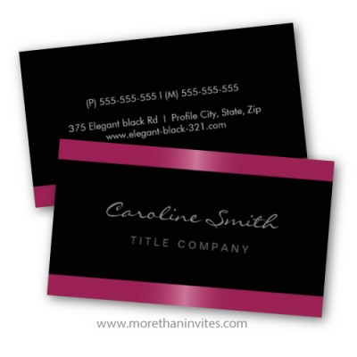 Elegant black business card for women with fuchsia pink satin borders