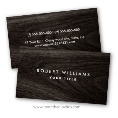 Elegant personal profile or business card with dark wood texture