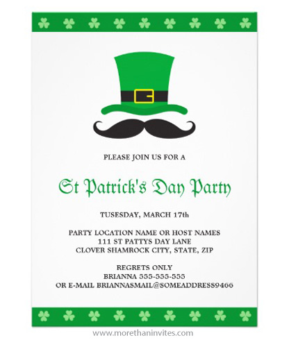 st patrick u2019s day party invitation with funny mustache and
