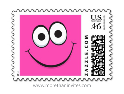 Funny pink cartoon face postage stamp for girls