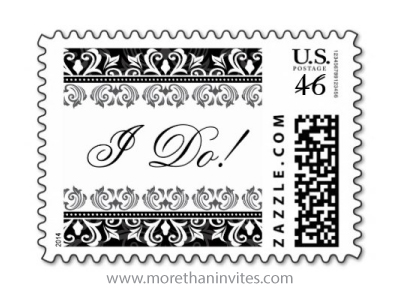 I do wedding postage stamp with black and white ornate damask borders