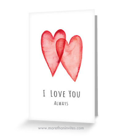 Romantic greeting card with two red hearts