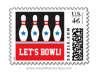 Lets bowl bowling birthday party postage stamp
