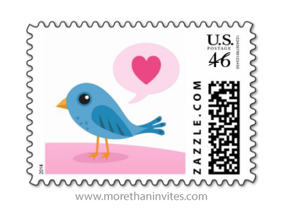 Little blue love bird with pink heart speech bubble valentines day postage stamp