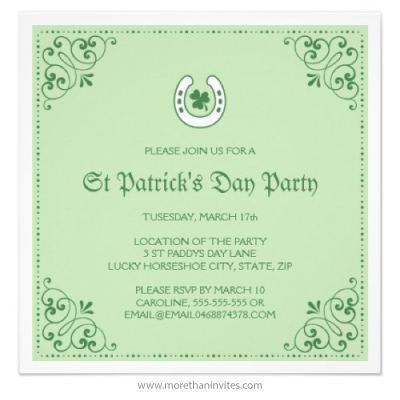 Lucky clover and horseshoe green St Patricks day party invitation
