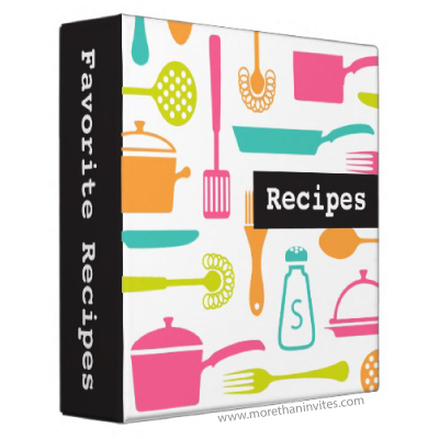 Modern, personalized recipe binder with colorful kitchen ...