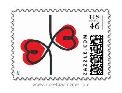 Modern wedding or valentines day postage stamp with red hearts