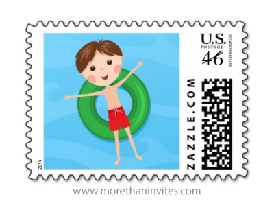 Pool or beach party postage stamp with cartoon boy on inflatable ring