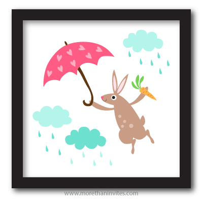 Rabbit with carrot and pink umbrella playing in the rain fun cartoon nursery wall art for girls