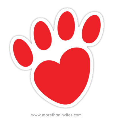 Red dog or cat pawprint heart sticker