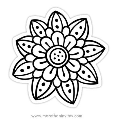 Whimsical doodle flower sticker