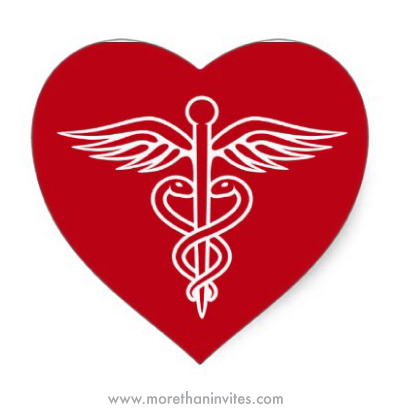 White caduceus on red heart shaped sticker