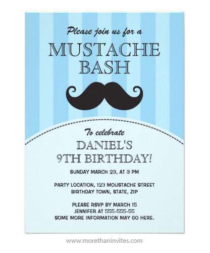 Funny handlebar mustache bash birthday party invitation, blue for boys