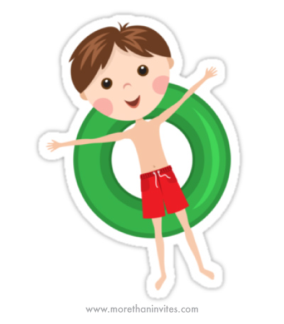 Boy on inflatable ring cute cartoon sticker for children