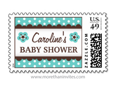 Brown and teal aqua blue personalized baby shower postage stamps with floral flowers