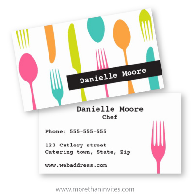 Chef or catering business card with colorful cutlery More than invites