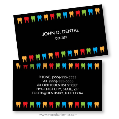 Colorful teeth black dentist dental business card