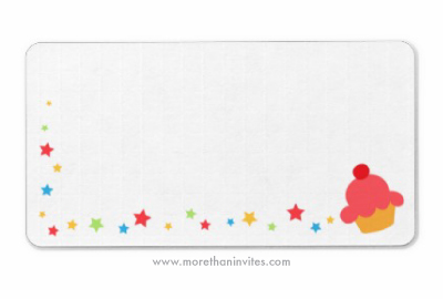 Cupcake and confetti stars cute blank birthday party return address label