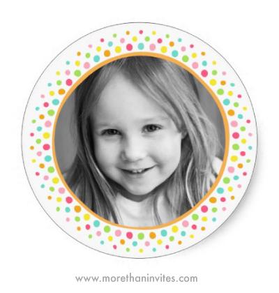 Custom photo colorfil whimsical polka dot border frame stickers