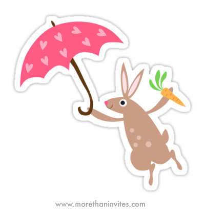Cute bunny rabbit with pink heart umbrella and carrot sticker for kids