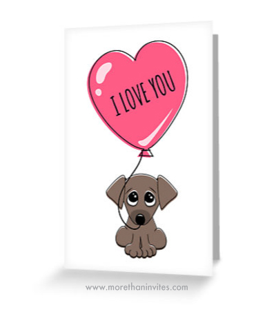 Cute cartoon puppy dog holding pink heart balloon with text i love you valentines day greeting card