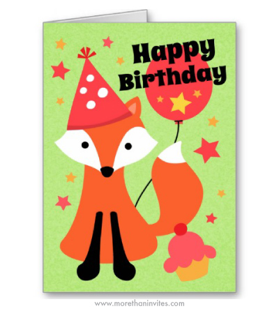 Cute fox in party hat with balloon cupcakr and stars happy birthday card
