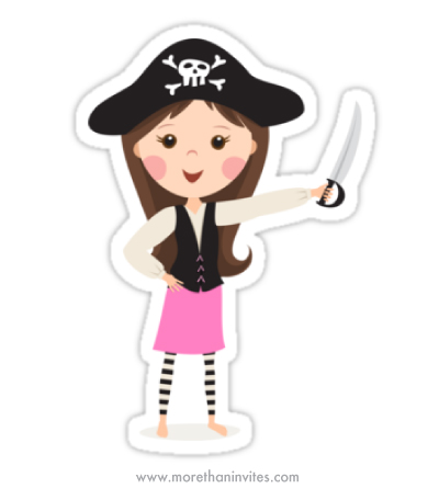 Cute girl pirate in pink skirt and striped leggings holding a sword or dagger cartoon sticker