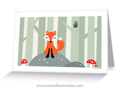Cute little forx sitting on a rock in the woods with red muchrooms blank forest woodland greeting card