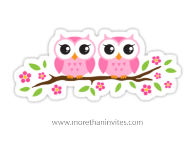 Cute pink twin baby owls sitting on a floral branch with leaves and flowers