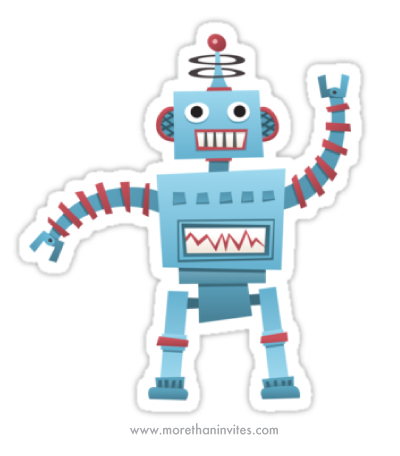Cute Retro Robot Vinyl Sticker More Than Invites
