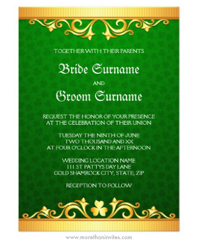 Elegant Irish St Patrick's day shamrock golden and green wedding invitation