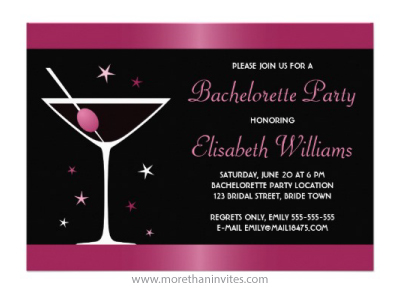 Elegant martini cocktail glass fuchsia pink and black bachelorette party personalized invitation