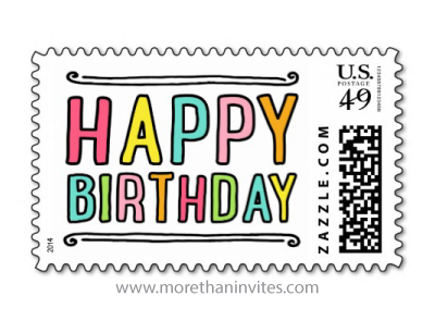 Fun colorful happy birthday postage stamp